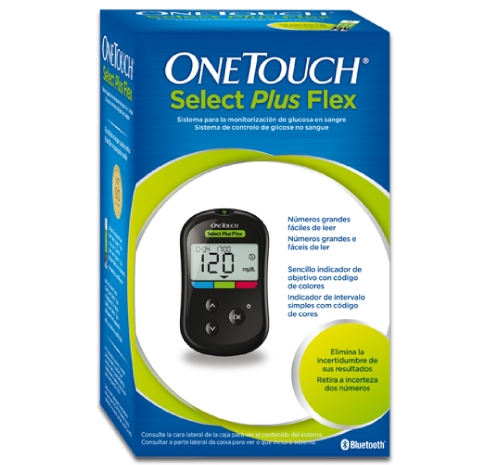 Medidor de Glicose no Sangue OneTouch Select Plus Flex a apresentar a glicose no sangue no intervalo
